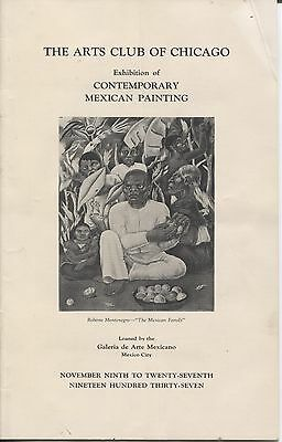 Art Brochure Arts Club of Chicago Contemp Mexican Paintings Rivera, Tamayo 1937