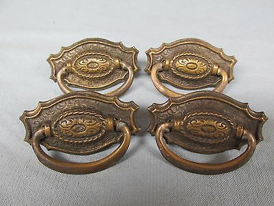 Antique Set of 4 Small Ornate Colonial-Style Brass Drawer Pulls Handles Lot 51