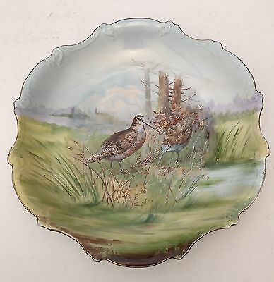 Large Antique Victoria Austria Plate Woodcock Birds With Scalloped Edge