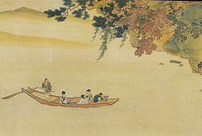 Qiu Ying : RED CLIFF (detail) with BOAT ON WATER China Art Card / Postcard!
