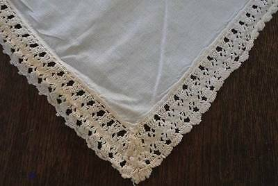 Vintage Cotton Crochet Lace Banquet Tablecloth Ecru Rick Rack 114""