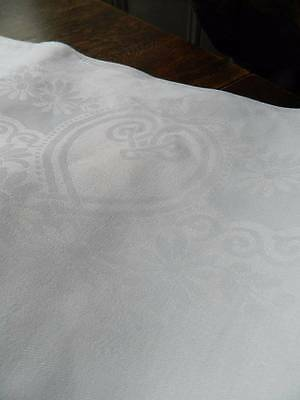 "Vintage 7ft long white Irish linen damask tablecloth - FLORAL design   84"" x 68"""