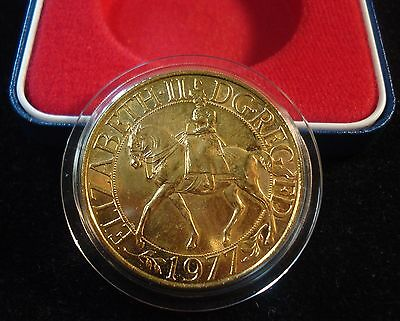 Rare Gold Plated 1977 Elizabeth Ii Jubilee Crown In Royal Mint Display Case