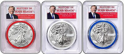 2017 Silver Eagle PCGS MS69 Donald Trump Red White and Blue Gasket 3 Coin Set