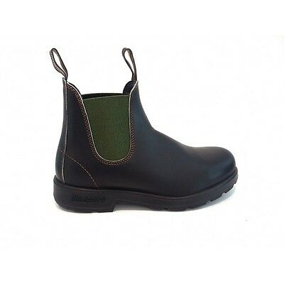 Blundstone 519 Booties Brown Leather Elastic Green Shoes Boots Da 35 A 47