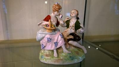 Beautiful Vintage Dresden Porcelain Courting Couple with Sheep Figural Group
