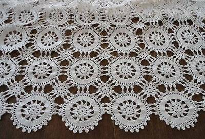 Vintage Crochet Lace Tablecloth or Bedspread Light Ecru Medallions 85""