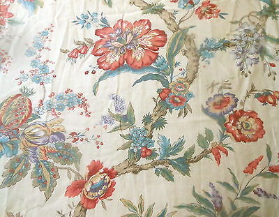 Vintage French Tree of Life Indienne Floral Cotton Fabric ~ Coral Blue Lavender