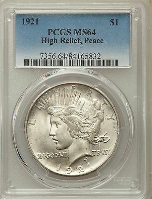 1921 US Peace Silver Dollar $1 - High Relief - PCGS MS64
