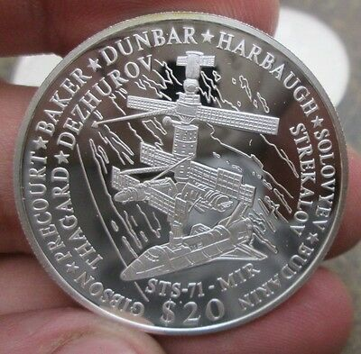 2001 Republic of Liberia Mir Space Station $20 Dollar .999 Proof Silver Coin NR