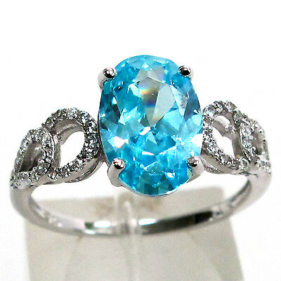 Sweet 3 Ct Aquamarine Oval Cut 925 Sterling Silver Ring Size 8