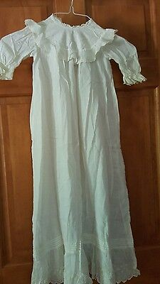 Vintage Antique Cotton Lace Baby Christening Baptism Gown + Matching Slip