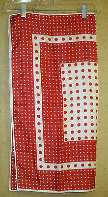 "Vintage Red White Polka Dot Acetate Made In Japan 25"" Square Scarf Hand Rolled"