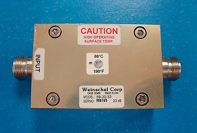API Weinschel 20dB 100W Fixed Attenuator DC-2.5GHz, Model 59-20-33, Type N