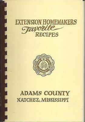 Natchez Ms 1982 Extension Homemakers Favorite Recipes Cook Book * Adams County