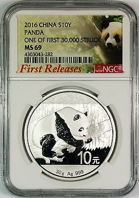 2016 10Y China Silver Panda NGC MS69 **First Releases**