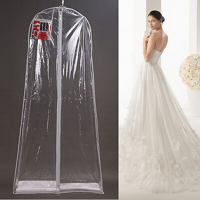 63''~71''Clear Bridal Gown Wedding Dress Garment Clothes Dustproof Storage Cover