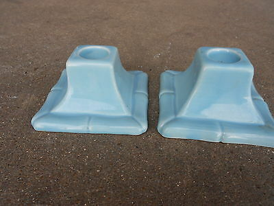 2 Vintage California Pottery Blue Candle Holders  USA  716