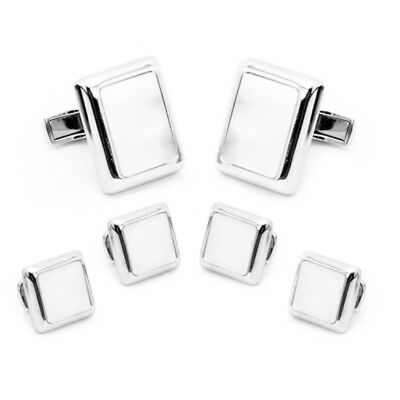 Silver Plated Mother of Pearl Presidential Cufflinks, Tuxedo Stud Set