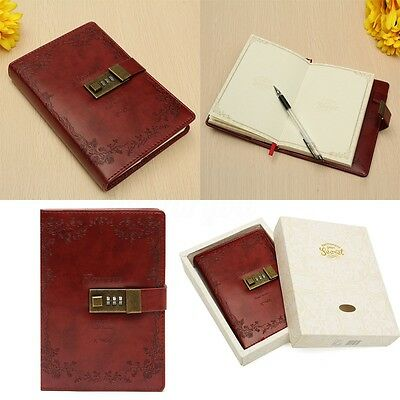 B6 Leather Vintage Red Rose Blank Journal Diary Note Book With Combination Lock