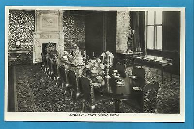 Early Real Photograph Postcard - LONGLEAT - STATE DINING ROOM - WILTSHIRE