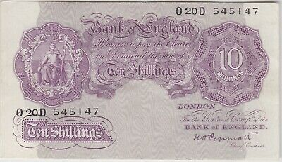 B251 Peppiatt D44D War Time 10/- Banknote In Good Very Fine Or Better Condition