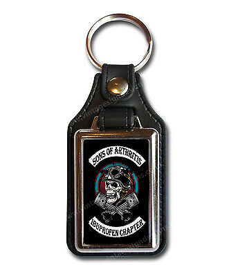 Sons Of Arthritis Ibuprofen Chapter Faux Leather Key Ring / Key Fob.