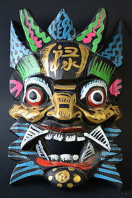 China Collectible Old Wood Carved Warrior Mask Colored Drawing Exquisite Statue