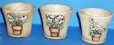 SET OF 3 Flower Pot PARTYLITE Candle Holders