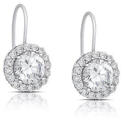 Dolce Giavonna Sterling Silver Cubic Zirconia Leverback Earrings