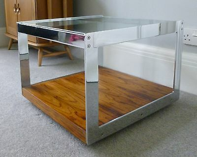 Vintage Merrow Associates Square Coffee Table Chrome & Rosewood - Richard Young