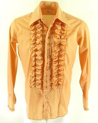 Vintage 70s After Six Ruffle Tuxedo Shirt Mens M Orange Embroidered USA Made