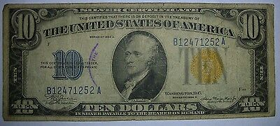 1934-A $10 Silver Certificate Yellow North Africa Seal