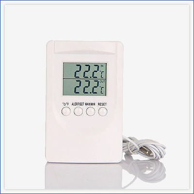 Digital Indoor Outdoor Thermometer Memory House Conservatory Greenhouse Fridge