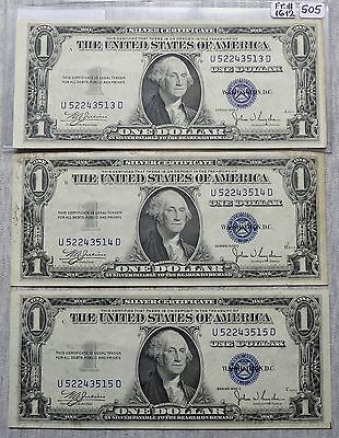 $1 Silver Certificate - Three Consecutives - 1935-C (Lot 505)