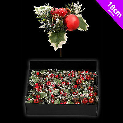 6 Christmas Picks Holly Toadstool Woodland Decoration Tree | Wreath Decoration