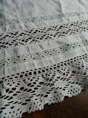 "Antique white cotton flounce Swiss embroidery & Cluny lace . 14"" deep x 108"""