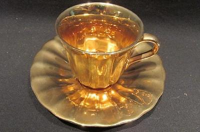 Royal Victoria Wade Pottery England Beautiful Gold Luster Demitasse &  Saucer