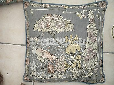 """Vintage embroidery large cushion peacock  Nouveau style roses  feather  19/19"""""""