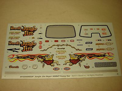 Model Kit DECAL JUNGLE JIM VEGA Funny Car 1/25 1/24 NEW