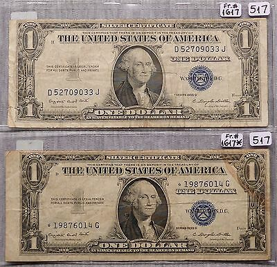 $1 Silver Certificate - 2 Notes: 1935-G (Motto), STAR 1935-G (Motto) (Lot 517)