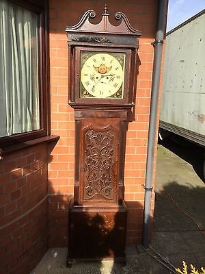 Oak And Mahogany Moon Phase Longcase Grandfather Clock By Alker Of Wigan