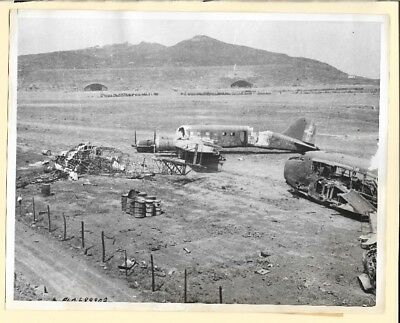 WW2 Italian Aircraft Caught in Air Raid at Pantelleria 7x9 Original News Photo