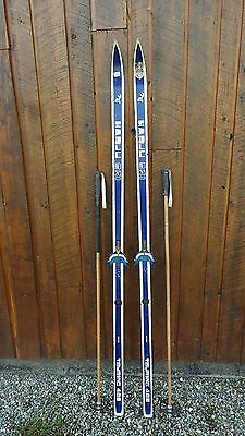 "VINTAGE Wooden 75"" Skis Signed HARJU with BLUE WHITE Finish"