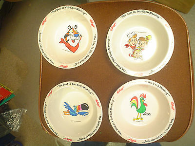 Set of 4 Kelloggs Cereal Bowls w/ Tony Tiger Tocan Sam Snap Crackle Pop Rooster