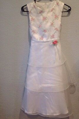 Bonnie Jean Girls White Sleeveless Ruffled Floral Embroidered Dress-Size-12