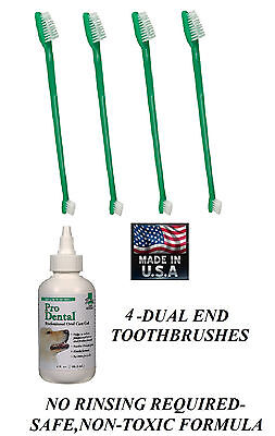 Pet Oral Care Dental GEL TOOTHPASTE & 4-TOOTHBRUSH Reduce Plaque/Tartar,Odor Dog