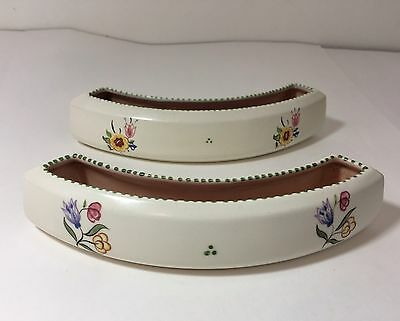 VTG Poole Pottery England Hand Painted Curved Posy Vase Trough Floral Set of 2