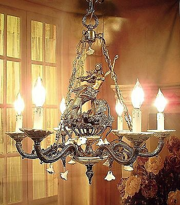 Antique Vintage Chandelier Bronze Porcelain Italy Mermaids Fixture Pendant