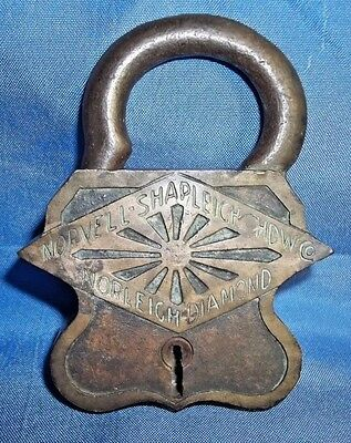 Rare Antique Brass Padlock Norvell-Shapleigh Hdw Co Norleigh Diamond (No Key)